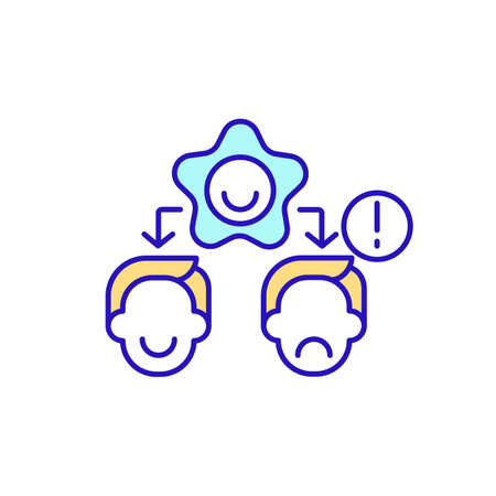 Influence of employee mood RGB color icon. Impact on job performance and decision. Corporate culture and values of organization. Emotional responses of staff. Isolated vector illustration