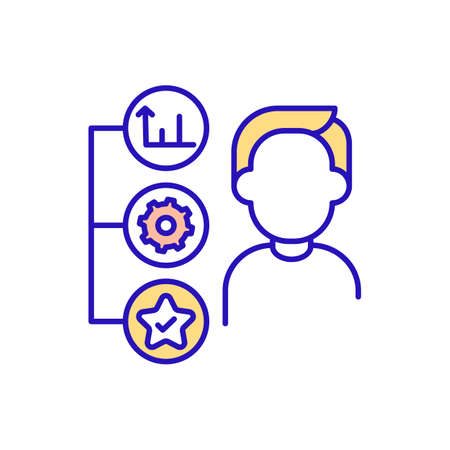 Assessment of working conditions RGB color icon. Bonuses, mechanism of work and improving job skills. Explanation of responsibilities in office. New worker. Isolated vector illustration