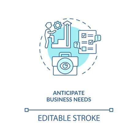 Anticipate business needs concept icon. Efficient contract management tips. Needs of company customers idea thin line illustration. Vector isolated outline RGB color drawing. Editable stroke