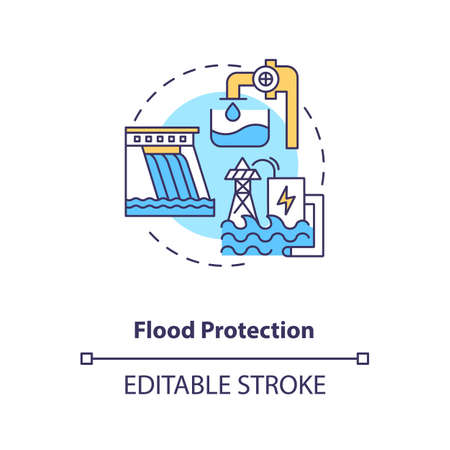 Flood protection concept icon. Dams provide flood control and capturing floodwaters idea thin line illustration. Case of pumped storage. Vector isolated outline RGB color drawing. Editable stroke