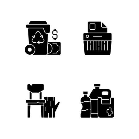 Managing waste black glyph icons set on white space. Waste management cost. Paper shredding. Discarded wood products. Consumer products. Recycling. Silhouette symbols. Vector isolated illustration