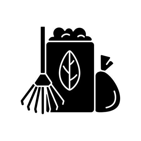Yard waste collection black glyph icon. Organic waste from residential lawns and gardens. Grass clippings, leaves, branches. Silhouette symbol on white space. Vector isolated illustration Illusztráció