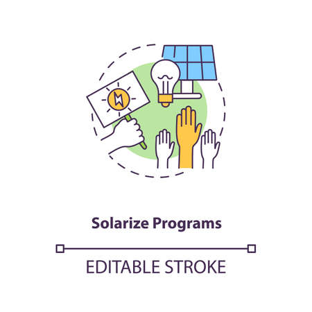 Solarize programs concept icon. Solar photovoltaic group-purchasing program idea thin line illustration. Sell unused electricity. Vector isolated outline RGB color drawing. Editable stroke
