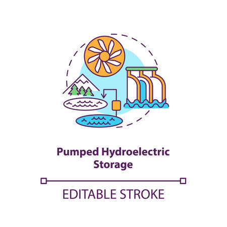 Pumped hydroelectric storage concept icon. Storing energy of grid at transmission stage idea thin line illustration. Water-power plant. Vector isolated outline RGB color drawing. Editable stroke