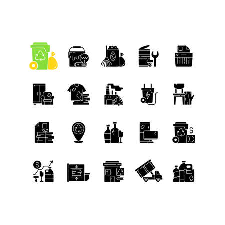 Waste management black glyph icons set on white space. Residential waste collection. Paper shredding. Grass clippings, leaves, branches. Bulky refuse. Silhouette symbols. Vector isolated illustration