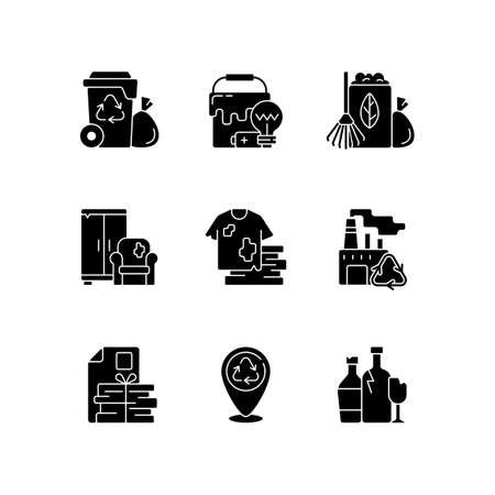 Waste disposal black glyph icons set on white space. Garbage pickup from home. Waste with hazardous properties. Grass clippings, leaves, branches. Silhouette symbols. Vector isolated illustration Illusztráció