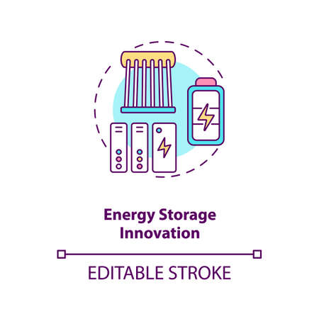 Energy storage innovation concept icon. Electrochemical storage idea thin line illustration. Methods to store energy for use. Vector isolated outline RGB color drawing. Editable stroke