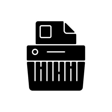 Paper shredding black glyph icon. Cutting paper into either strips, fine particles. Mechanical device. Destroying private documents. Silhouette symbol on white space. Vector isolated illustration