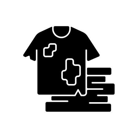 Textile waste black glyph icon. Clothing, footwear. Fashion and textile industry refuse. Post-consumer waste. Clothing production. Silhouette symbol on white space. Vector isolated illustration