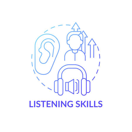 Listening skills concept icon. Language learning competence idea thin line illustration. Practicing active listening. Identifying speech sounds. Vector isolated outline RGB color drawing