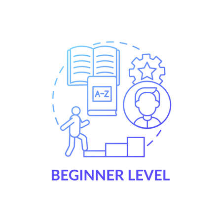 Beginner level concept icon. Language learning stage idea thin line illustration. Forming basic sentences. Asking and answering simple questions. Vector isolated outline RGB color drawing