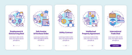 Common commercial contracts types onboarding mobile app page screen with concepts. Outsourcing deal walkthrough 5 steps graphic instructions. UI vector template with RGB color illustrations