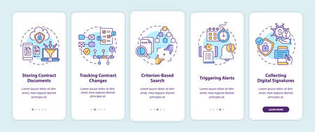 Contract management software functions onboarding mobile app page screen with concepts. Storing documents walkthrough 5 steps graphic instructions. UI vector template with RGB color illustrations