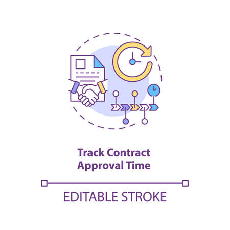 Track contract approval time concept icon. Efficient contract management tips. Stage and status tracking idea thin line illustration. Vector isolated outline RGB color drawing. Editable stroke Ilustración de vector