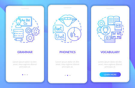 Language study categories onboarding mobile app page screen with concepts. Word-stock, linguistics walkthrough 3 steps graphic instructions. UI vector template with RGB color illustrations