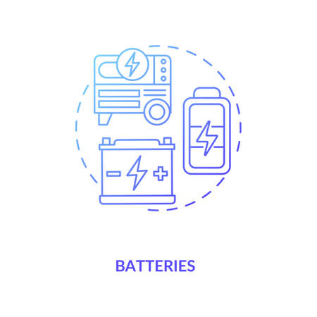 Battery installations at wind farms concept icon. Batteries producing electricity idea thin line illustration. Radiators generating power. Vector isolated outline RGB color drawing