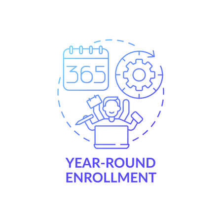 Year-round enrollment concept icon. Online language courses idea thin line illustration. Starting courses anytime. Open-enrollment. Year round program. Vector isolated outline RGB color drawing
