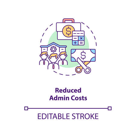 Reduced admin costs concept icon. Contract management automation benefits. Limit company expenses idea thin line illustration. Vector isolated outline RGB color drawing. Editable stroke