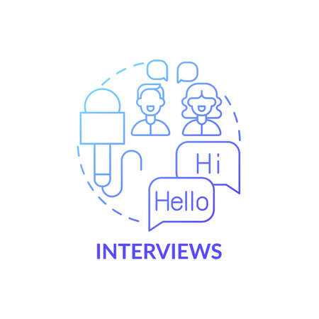 Interviews concept icon. Video for language learning idea thin line illustration. Communicative skills development. Remembering and memorizing word sounds. Vector isolated outline RGB color drawing Ilustração