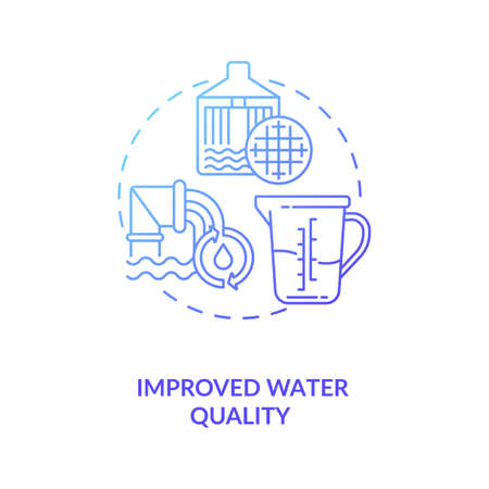 Clean energy and health of river concept icon. Improve generation and environment idea thin line illustration. Process of filtering water. Vector isolated outline RGB color drawing