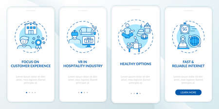 Business travel trends onboarding mobile app page screen with concepts. Service adaptation experience walkthrough 4 steps graphic instructions. UI vector template with RGB color illustrations