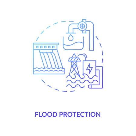 Flood protection concept icon. Case of pumped storage idea thin line illustration. Flood control techniques. Protecting of environment and people. Vector isolated outline RGB color drawing