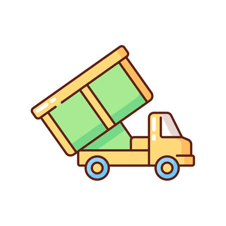 Roll-off truck RGB color icon. Open top dumpster. Organizational clear outs. Convenient disposal option. Remodeling debris. Local landfills, sorting facilities. Isolated vector illustration