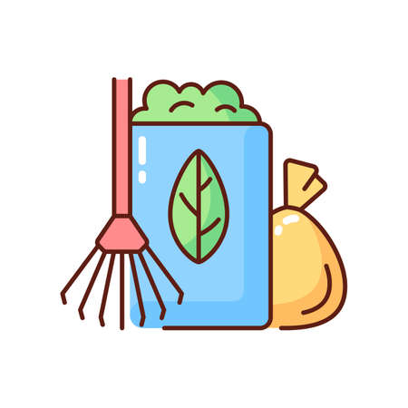 Yard waste collection RGB color icon. Organic waste from residential lawns and gardens. Grass clippings, leaves, branches. Seasonal schedule. Agricultural refuse. Isolated vector illustration