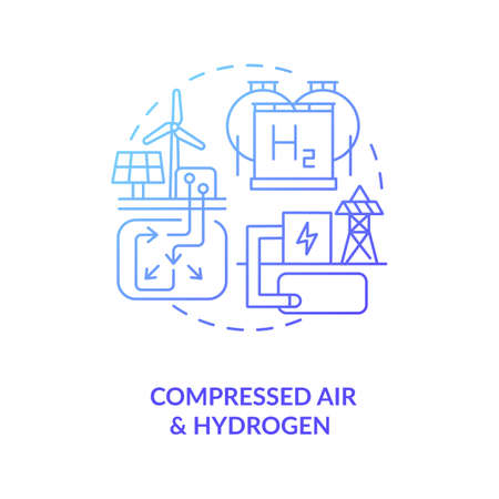 Compressed air and hydrogen energy storage system concept icon. Renewable resources of wind and solar energies idea thin line illustration. Vector isolated outline RGB color drawing