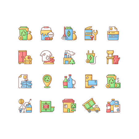 Waste management RGB color icons set. Residential waste collection. Paper shredding. Grass clippings, leaves, branches. Drop-off locations. Trash compactor. Bulky refuse. Isolated vector illustrations