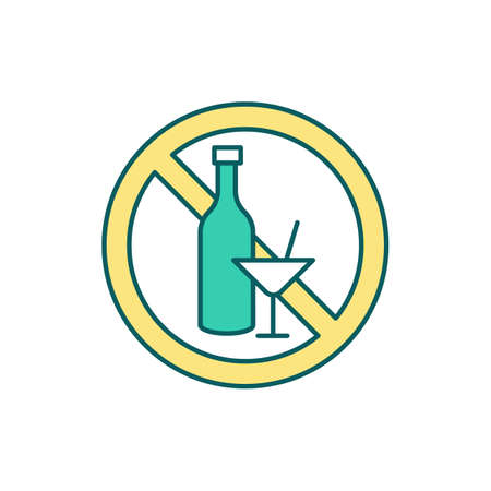 Alcohol ban RGB color icon. Excessive alcohol consumption stop. Alcoholism prevention. Changing drinking habits. Alcohol-related harms. Alcoholic beverages misuse. Isolated vector illustration
