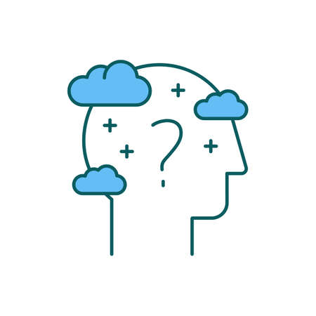 Cognitive impairment RGB color icon. Dementia, Alzheimer disease. Problem with memory and thinking skills. Brain dysfunction. Personality, behavior changes. Mental health. Isolated vector illustration