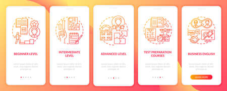 Language studying levels onboarding mobile app page screen with concepts. Intermediate, high level walkthrough 5 steps graphic instructions. UI vector template with RGB color illustrations 向量圖像