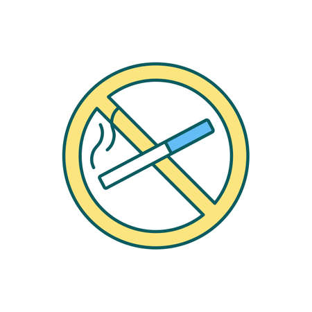 Smoking ban RGB color icon. Smoking prohibition sign. Public places, workplaces. Reducing heart attack risk. Avoiding using tobacco products. Harmful health impact. Isolated vector illustration