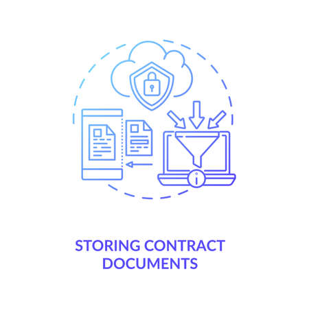 Storing contract documents concept icon. Contract management software functions. Storing physical copies of documents idea thin line illustration. Vector isolated outline RGB color drawing
