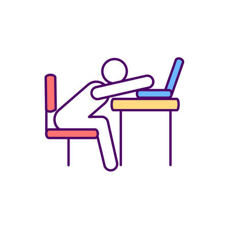 Sedentary workplace behavior RGB color icon. Awkward working posture. Occupational risk. Keeping physical activity during working hours. Public health issue. Isolated vector illustration