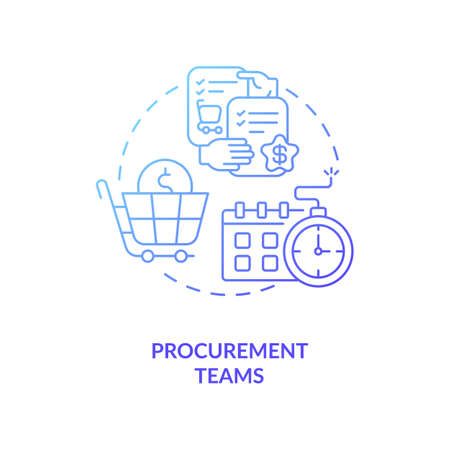 Procurement teams concept icon. Contract management software users. Provide modern services to project participants idea thin line illustration. Vector isolated outline RGB color drawing