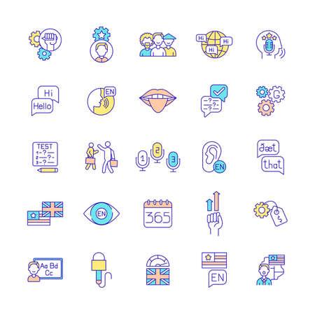 Language acquisition RGB color icons set. Cultural diversity. Language proficiency. Exam preparation. Grammar improvement. Speaking fluency. British, American English. Isolated vector illustrations
