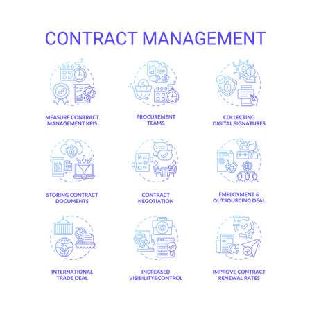 Contract management concept icons set. Contract lifecycle steps. Efficient management tips for company ruling idea thin line RGB color illustrations. Vector isolated outline drawings