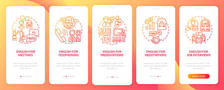 Business language purposes onboarding mobile app page screen with concepts. Meetings, negotiations walkthrough 5 steps graphic instructions. UI vector template with RGB color illustrations