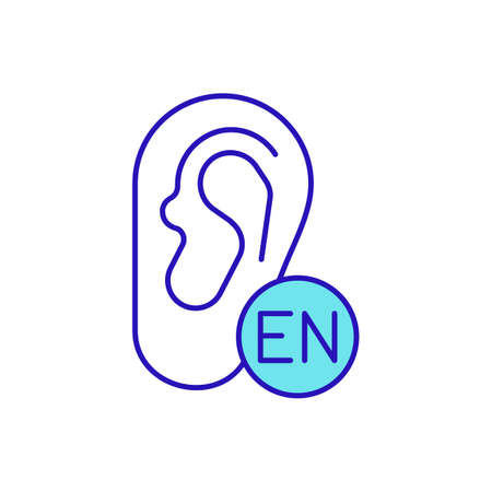 English listening level RGB color icon. Improving listening comprehension. Receiving and interpretation messages in communication process. Conversations and audios. Isolated vector illustration