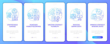 Contract management automation benefits onboarding mobile app page screen with concepts. Reduce cost walkthrough 5 steps graphic instructions. UI vector template with RGB color illustrations 向量圖像