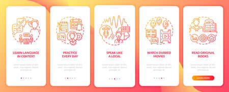 Studying language tips onboarding mobile app page screen with concepts. Everyday practicing, dubbed movies walkthrough 5 steps graphic instructions. UI vector template with RGB color illustrations 向量圖像