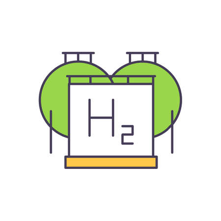 Renewable energy sources RGB color icon. Combination of storing energy. Compressed air, hydrogen and oxygen produced by the water electrolysis. Storage gas-turbine plant. Isolated vector illustration Vektoros illusztráció