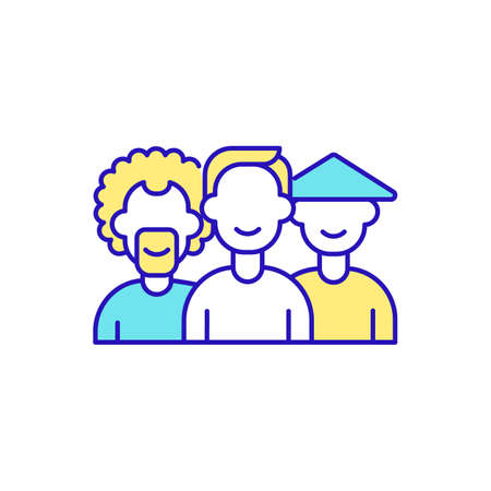 Cultural diversity RGB color icon. Different cultures respecting each other differences. Expanding human values and worldviews. Abundant diversity recognition. Isolated vector illustration