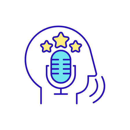 Fluent speaker RGB color icon. Speaking fluency. Speech production and reception. Understanding and responding to others in conversation. Language proficiency. Isolated vector illustration