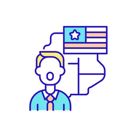 Native English speakers RGB color icon. American accent training. Speaking language easily and correctly. English pronunciation and fluency course. Language proficiency. Isolated vector illustration Vetores