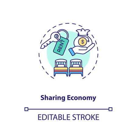 Sharing economy concept icon. Business travel   idea thin line illustration. Travel industry and service optimize. Vector isolated outline RGB color drawing. Editable stroke