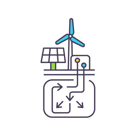 Hybrid energy storage system using compressed air and hydrogen RGB color icon. Fossil fuel generated electricity. Electrically powered turbo-compressors. Isolated vector illustration