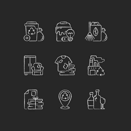 Waste disposal chalk white icons set on black background. Garbage pickup from home. Waste with hazardous properties. Grass clippings, leaves, branches. Isolated vector chalkboard illustrations Illusztráció